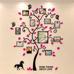 Family Tree Photo Frame Wall Decal Black Pink Pictures Stickers 3D DIY Decor $12.99