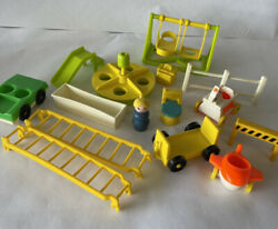Vintage Little People fisher price Lot Farm School Playground Accessories $24.90
