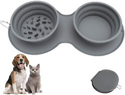 Dog Bowls Pet Travel Bowls Silicone Pet FoodWater Feeder Bowl Portable Foldable $23.64