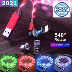 540° Rotate Magnetic LED Light Up USB Phone Charger Cord For iPhone Type C Micro $9.95