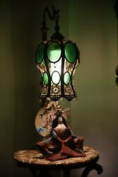 63#x27;#x27; Antique Slag Glass Lamp With Coffee Table in Marble and Brass $1550.00
