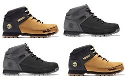 Timberland Men#x27;s Euro Sprint Leather Hiker Boots Wheat Black Gray A1NHJ $159.95