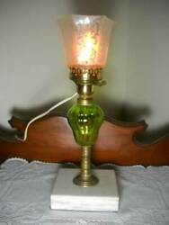 Electrified Oil Lamp Green Pear Shaped Font w Marble Base amp; Etched Shade $79.00