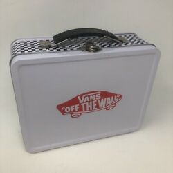 Vans Off The Wall Metal Lunchbox Black White Red Checkerboard Detail New $34.99