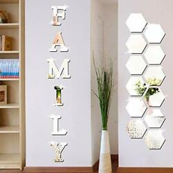 Family Sign Letters Acrylic Mirror Wall Stickers For Kitchen Decorations 18 Pcs $20.33