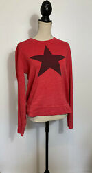 SUNDRY Red with Black Star Long Sleeve Top Size 3 $39.95