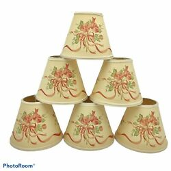 Set of 7 Vtg Candle Lamp Chandelier Shades Clip on Bulb Cottagecore Roses Ribbon $32.99