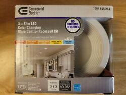Commercial Electric Slim Baffle 3quot; Color Selectable Integrated LED Recessed Kit