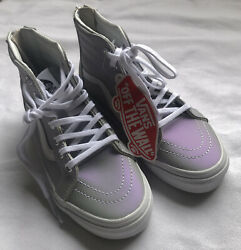 NEW VANS Skateboard High Top Sneakers Gray Purple Holographic Off Wall Girls 13 $49.99