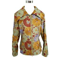 SAMUEL DONG Green Copper Red Purple Floral Embroidered Zip Up Jacket M EUC TTCB $48.00