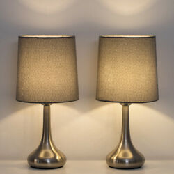 2 Sets Modern Beside Table Lamp Small Desk Light with Fabric Shade for Bedroom $27.90