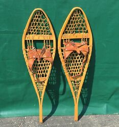 Great Vintage SNOWSHOES 33x10 w PATINA Snow Shoes LEATHER BINDINGS L@@K $94.49