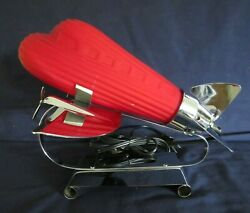 ART DECO STYLE RED AIRPLANE LAMP RED GLASS amp; CHROME DC 3 $125.00
