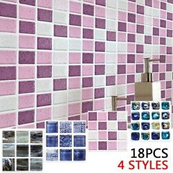 18 X Mosaic Tile Wall Stickers For Kitchen Bathroom 10*10cm PVC Waterproof $11.14