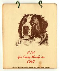 Vintage calendar A PET FOR EVERY MONTH IN 1947 illustrated by Morgan Dennis DOGS $38.00