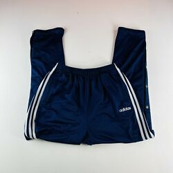 Adidas Vintage Snap Warm Up Pants Navy Blue Striped Mens Size Large $21.95