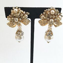 Lois Ann Earrings Crystal and Faux Pearls Bow and Flower Motif Clip On $120.00