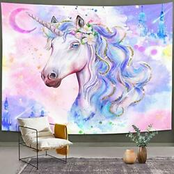 Unicorn Tapestry Watercolor Cool Kids Wall Hanging Magic Castle Pink Purple $16.33