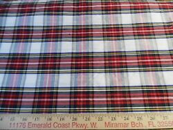 100% SILK LARGE SCALE TARTAN PLAID RED WHITE BLACK YELLOW 12quot;x45quot; DOLL FABRIC $6.50