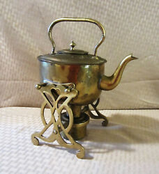 Antique Brass Teapot With Stand and Alcohol Burner $35.00
