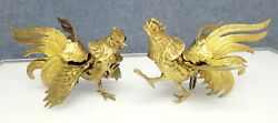 Pair Brass Roosters Fighting Cocks Bird Sculpture MCM Statues Vintage EUC $39.00