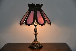 Antique Slag Glass Lamp 8 Panels Pink Stained Glass Lamp $580.00