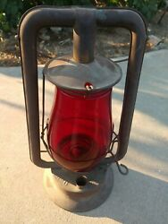 Antique Vintage Defiance Lantern No. 0 W Red Dietz Globe Made In Rochester NY $60.00