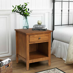 Vintage Nightstand Solid Pipe Wood Side End Table 1 Drawer One Open Shelf Brown $175.99