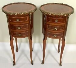 Mid 20th Century Louis XV Marquetry Side Table Pair w Brass Ormolu $1995.00