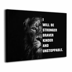 Lion Inspirational Wall Art Canvas Paintings Office One Size Lion Motivation $26.51