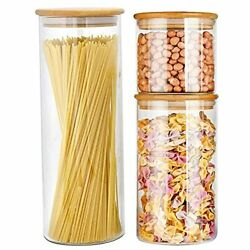 Kitchen Canisters Airtight Glass Food Storage Jars For Spaghetti Flour Set Of 3 $30.64