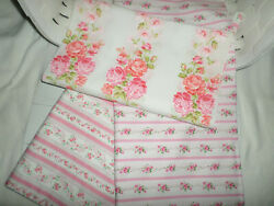 Lot of Shabby Vintage Pink Ticking Roses Fabric Quilting Masks Pillows NEW $34.00