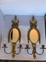 Pair Brass Metal Wall Sconce s Mirror Candelabra W Double Candlestick Holders $250.00