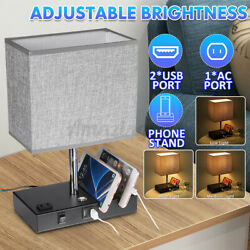 Dimmable LED Table Lamp E27 with 2 USB Charging Ports Desk Bedroom Bedside Lamp $30.59