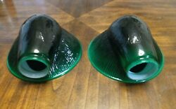 Vtg Green Cased Glass Lamp Shades Clam Shell Ribbed Unique Rare Pair 2quot; Fitter $275.00