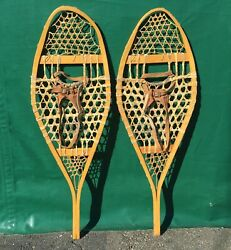 Lovely Vintage SNOWSHOES 42x14 Snow Shoes w LEATHER BINDINGS $92.49