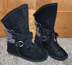 Women's Bear Paw Black Boots Size 9 With Laces Fall Winter Spring Slip On Boot $19.99