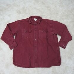 LL Bean Chamois Flannel Shirt Mens XL Extra Large Red Button Up Warm Fall FF18 $18.95