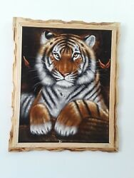 TIGER Hand Painted VELVET PAINTING 18quot; BY 22quot; W FRAME Home decor $45.00