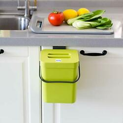 Small Compost Bin with Lid Plastic Waste Basket 5 L 1.3 Gallons 5L Green $24.01