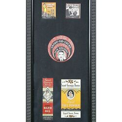 Vintage Labels 5 Glass Framed Billy Hork Gallaries FREE SHIPPING $45.95