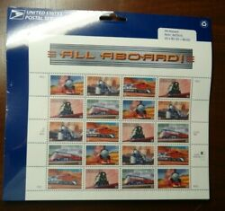 All Aboard 33c Trains Railroad Sheet of 20 Stamps $11.99