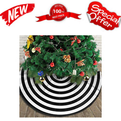 Small Black and White Christmas Tree Skirt 30 in Rustic Decorations Farmhouse $24.06