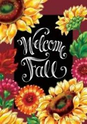 Welcome Fall Sunflowers Mums Garden Flag 12quot;x18quot; Custom Decor 2 Sided $11.95