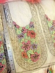 Antique vintage fine embroidered tulle lace panels with metallic. May be wool $35.00