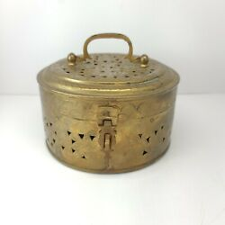 Vintage Brass Latched Cricket Trinket Box 6quot; Round x 3quot; High Boho Made in India $15.00