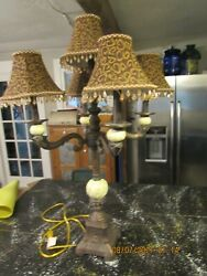 CANDELABRA WITH BEADED SHADES TABLE LAMP $144.29