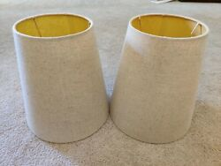 Lot of 2 Light Beige Linen Fabric Lamp Shades 9quot; Height Unbranded $15.99