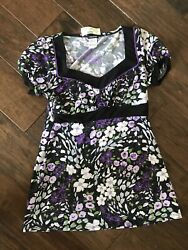 Cute for Fall Womens Maurices Floral Top Black purple Size Small $11.85