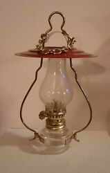 Vintage Hanging Oil Lamp with Red Metal Shade $29.00